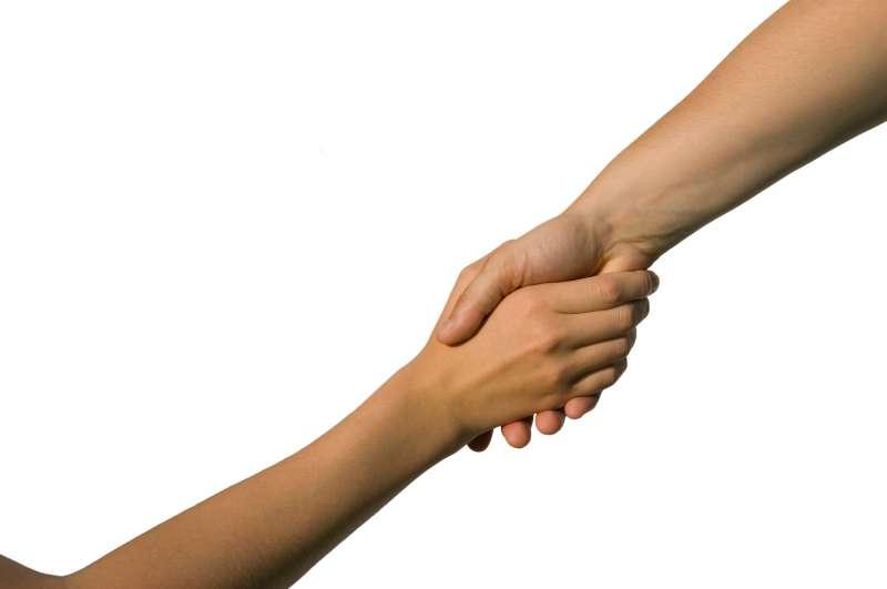 Ik grijp uw rechterhand aan
